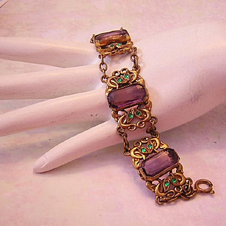 1920's ART DECO / Nouveau SUFFRAGE Colors GLASS &  Brass Ornate Bracelet