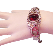 1960's WHITING DAVIS Rarely Seen RASPBERRY Pink / Red Glass Ornate Hinged CUFF Bracelet