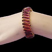 1950 Plum / Purple Glass CARMELITA DFB Co Expansion Bracelet RARE