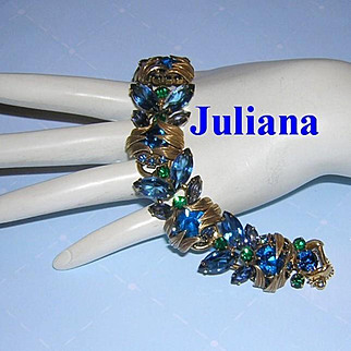 Juliana VENUS FLAMES Multi Color RHINESTONES Sought After Bracelet Book Piece