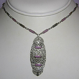 1920's ART DECO Orchid / Lavender Enamel Pierced Rhodium Necklace