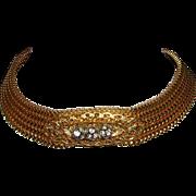 1972 RUNWAY Sassy Disco CHOKER Necklace With Rhinestone Balls