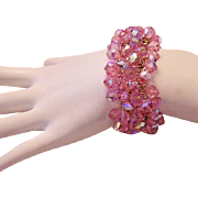 1950's Sparkling PINK Crystals Impossible To Find Expansion Bracelet