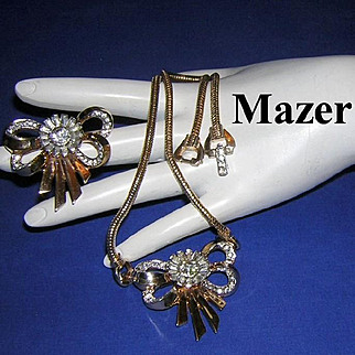 1940's MAZER Magnificent Rhinestone High End Necklace & Rare Matching Dress Clip