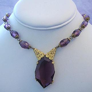 1920's Art Deco CZECH Signed Stunning BOLD Amethyst Glass Gilt Necklace
