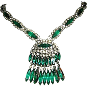1963 KRAMER Emerald Green Slim Navette Rhinestones Necklace From The EMPRESS Collection