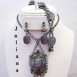 JULIANA Scarce Mirrored Mosaic Glass & Rhinestone Necklace Bracelet & Earrings Parure