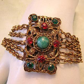 1930's VICTORIAN Revival ORNATE Glass & Rhinestone Bracelet