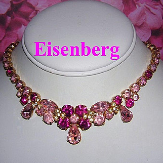 EISENBERG Hot PINK & Pink Rhinestones Impressive Necklace