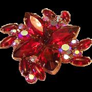 1950's RED HUGE Marquise Rhinestones Garne Jewelry Pin / Brooch