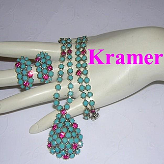 KRAMER Turquoise & HOT PINK Rhinestones Necklace & Earrings Seldom Seen