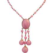 1920's CZECH Signed Pink Marbled Art Glass Necklace