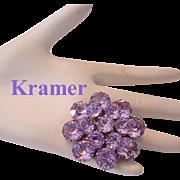 KRAMER Color Changing ALEXANDRITE Rhinestone Pin / Brooch Scarce