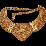 BOLD Golden Statement Necklace Designer Jose Marie Barrera