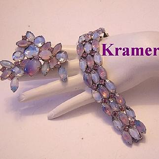 KRAMER Superb Givre / 2 Tone Glass & Rhinestone Bracelet & Pin