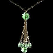 Roaring 1920's FLAPPER Peridot Crystal LONG Necklace