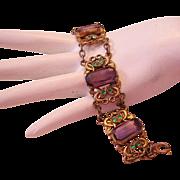 1920's ART DECO / Nouveau Women's SUFFRAGE Colors GLASS & Brass Ornate Bracelet