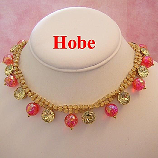 HOBE Colorful Rhinestones & Textured GLASS Dangling Collar Fringe Necklace