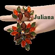 1962 JULIANA Book Piece DIAMOND Shaped Rhinestones AUTUMNAL Colors Pin & Earrings