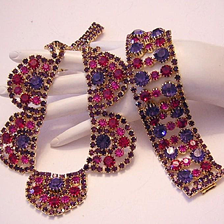 1960's RUNWAY Decadent Pink & Purple Rhinestones WIDE Bracelet & Scalloped Necklace