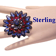 1940's STERLING Cobalt & Red Marquise Rhinestones Pin / Brooch