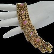 1960's Glass Faux FIRE Opals / LAVA Stones & Rhinestones Bracelet