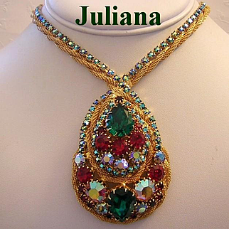 JULIANA Sought After Colorful Rhinestones BOOK Piece Necklace