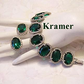 KRAMER Exquisite Emerald Green & Diamond Rhinestones Earrings &  Bracelet