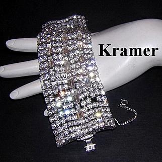 KRAMER Killer 2 Inch WIDE Diamond Like Rhinestones Bracelet
