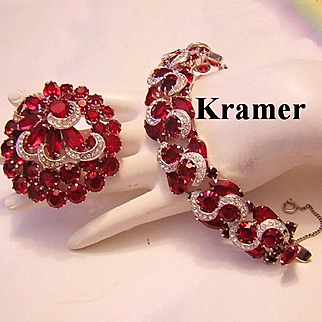 KRAMER Remarkable Ruby RED & Diamond Like Icing Rhinestones Bracelet & Pin