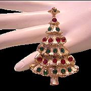 1960's RED & Green Rhinestones Christmas Tree Pin / Brooch