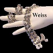 WEISS Sultry Black Diamond Rhinestones & Crown Icing Bracelet & Earrings