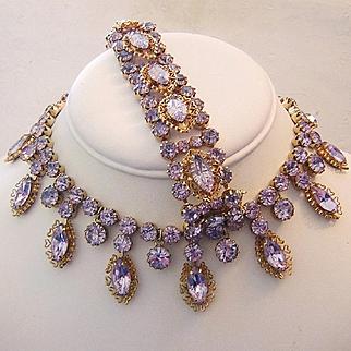 KRAMER ALEXANDRITE Color Changing Rhinestones RARE Necklace & Bracelet