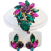 JULIANA D&E Dazzling Colors Rhinestone Pin & Earrings