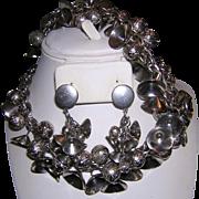 1960's BELLS & Textured BAUBLES Dangling Necklace, Bracelet & Earrings Parure