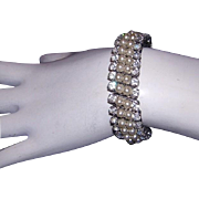 1950's RHINESTONE & Faux PEARL Expansion Bracelet Signed