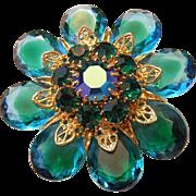 JULIANA Teal Glass &  RHINESTONE With Golden Filigree  Pin / Brooch