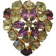 KRAMER Rare Rhinestone HEART Pin Purple & Canary