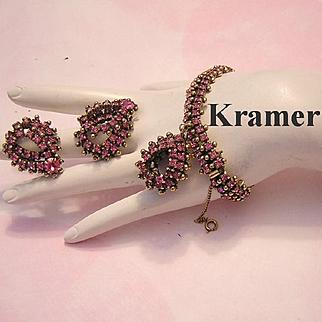 KRAMER Pink Rhinestones & Golden Balls RARELY Seen Dangling Bracelet & Earrings