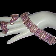 1960's Remarkable PINK Frosted SATIN Glass & RHINESTONES Bracelet & Earrings