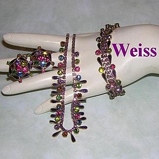 WEISS Purple & Colorful RHINESTONES With Purple Enamel Necklace Bracelet & Earrings PARURE
