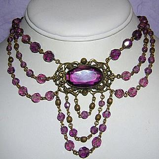 1920's ART DECO / Nouveau  Amethyst / Purple Glass & Crystal Fabulous FESTOON Necklace