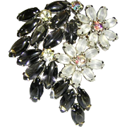 1960's OPALESCENT & Charcoal / Black Diamond GLASS Marquise & RHINESTONES Pin / Brooch