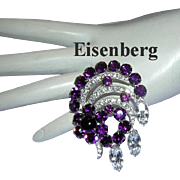 EISENBERG Elegant Rare PURPLE / Amethyst Rhinestones & DIAMOND Like Icing Pin / Brooch