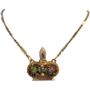 1940's / 50's Bejeweled PERFUME Bottle Necklace With Stopper