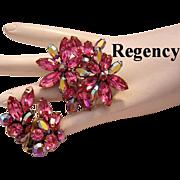 REGENCY Radiant PINK Rhinestones REMARKABLE Pin & Earrings - Red Tag Sale Item