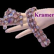KRAMER Superb Givre / 2 TONE Glass & Rhinestone Bracelet & Pin - Red Tag Sale Item