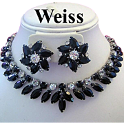 WEISS Dramtic SULTRY Jet Black Marquise Rhinestones Necklace & Earrings