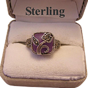 Chinese Export LAVENDER JADE & Marcasite Ring