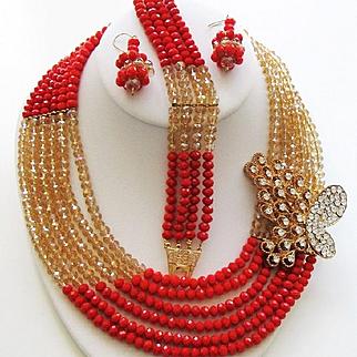 1982 RED & CHAMPAGNE Captivating Crystals & Rhinestones FESTOON / Bib Necklace Bracelet & Earrings Parure